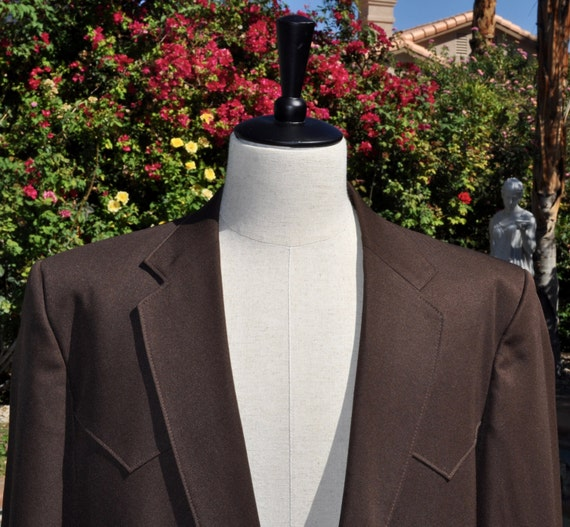 Vintage 1970s Shepler's Western Wear Men's Chocolate Brown Blazer Jacket Sz 44R Made in USA