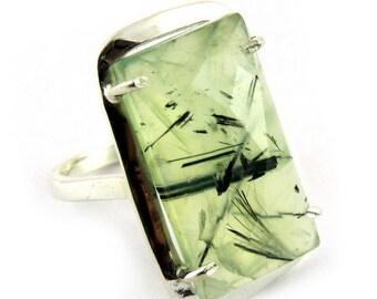 Chunky Green Prehnite Silver Ring - Silver Ring - Gemstone Ring - Handmade ring