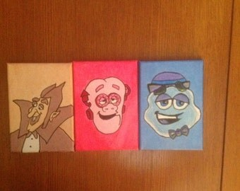 Count Chocula, Frankenberry, and Booberry collage of portraits.