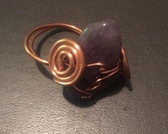Amethyst Ring Copper - Size 7