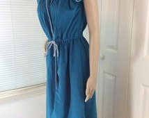 Vintage Terrycloth dress in blue w/ White piping Size Small with drawstring waist 1970s
