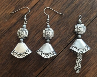 Southwestern style earrings and matching pendant by Antonia Bracci