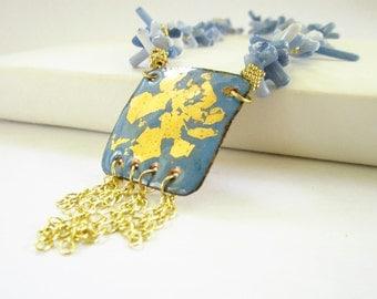 Blue Denim Coral Fringe Necklace