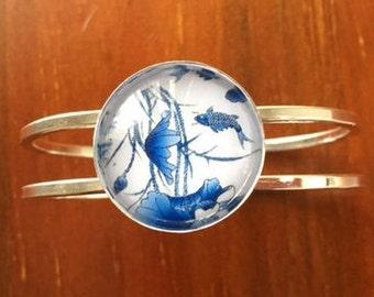 Blue Flower Cuff Bracelet Bangle