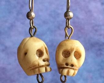 Carved Yak Bone Skull Earrings