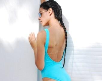 Aqua Blue Low Back Swimsuit