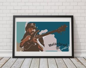 LARGE SIZE Lemmy Kilmister Print / Motorhead Poster / Lemmy Poster / Heavy Metal Poster/ Motor Head Poster /Big Poster / Big Print