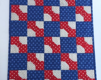 American Girl Doll quilt, bow tie pattern, doll collectors, table topper, candle mat, miniature quilt