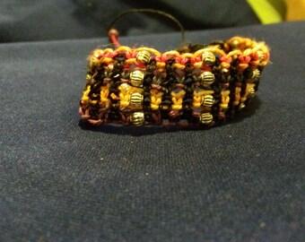 Awesome multicolored macrame hemp beaded bracelet