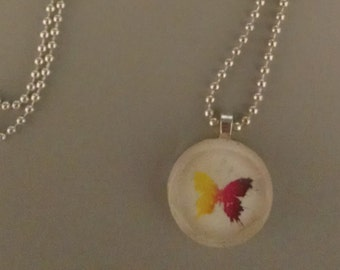 SALE - Round Butterfly Glass Tile Necklace