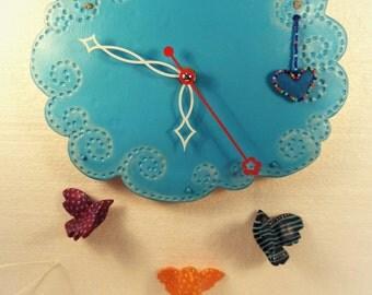 Ceramic Wall Clock Cloud & Birds
