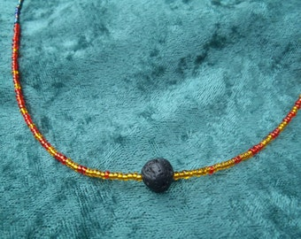 Lava Fire Beaded Necklace
