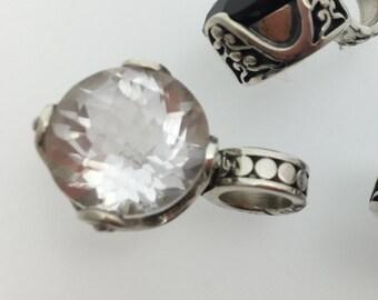 Crystal Quartz Small Circular Sterling Silver Pendant