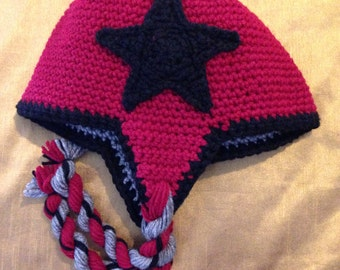 REVERSIBLE Crochet Roller Derby Jammer Hat - Beanie with Earflaps - Customizable - Made to Order