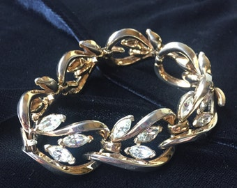 Crown Trifari gold wide link bracelet with marquise rhinestones, holiday jewelry