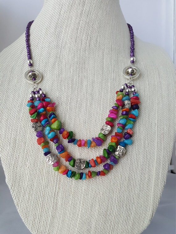 Multicolored natural quartz chip necklace