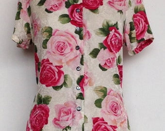 Vintage 90s silk button front rose print short sleeve shirt