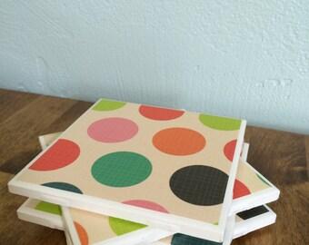 Multicolored polka dot tile coaster