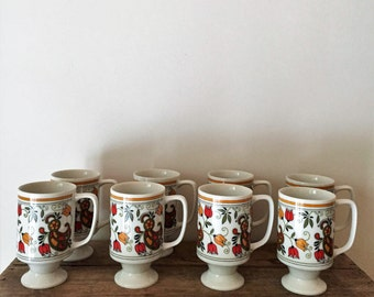 Floral Pedestal Tea or Coffee Mugs-Vintage Set of 8