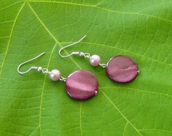 Burgundy Dangle Earrings. Dainty Earrings. Made in Canada.