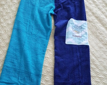 Personalized and Customized Towel pants for Teens and Adults for Swim practice, swim meets, pool, beach and a gift