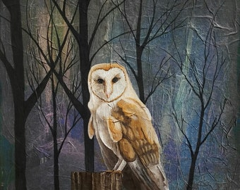 BARN OWL, Original Owl Mix Media Painting, Silhouette Trees