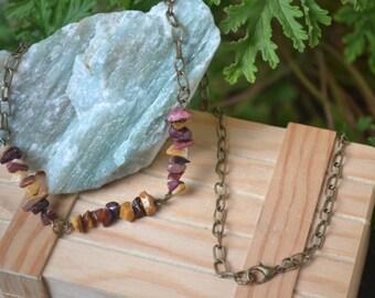Mookait chain, boho, layering necklace, unique