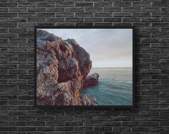 Sea Photography - Blue Sea Photo - Retro Colors - Sea Print - Seascape Photo - Cliff - Sea Wall Art - Sea Wall Decor - Sea Home Decor