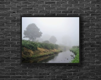 Misty River Photography - River Print - Fields Wall Decor - Scenic Photo - Misty Fields Photo - River Landscape Photo - Nature Wall Decor