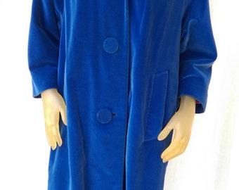 Vintage Marguerite Rubel Blue Velour Coat