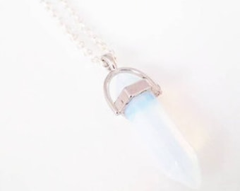 "Foggy White Crystal Pendant 30"" Silver Necklace"