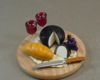 Dollhouse Miniature Wine and Cheese Tray in 1:12 scale; twelfth scale, Item #204.