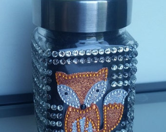 Sparkly Fox Rhinestone Glass Jar