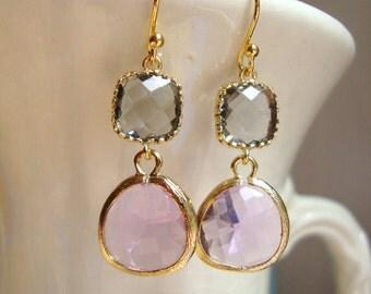 Gray and Lavender Earrings. Bridal Earrings. Bridesmaid Earrings. Wedding Earrings. Wedding Gift. Gift For Her. Lavender Wedding