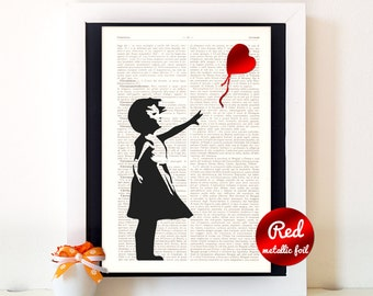 Girlfriend gift,gift for her,1st anniversary gift,gift for women,gift for wife,valentines day gift,wall decor,wall art,Banksy Heart,-11