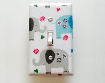 Gray and Blue Elephant Light Switch Plate - Elephants Light Switch Cover-Pink and Gray Nursery-Baby Pink Elephant Room