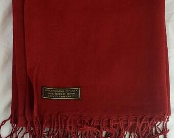 Genuine Cashmere Pashmina Shawl / Scarf Handmade in Nepal Pure Cashmere & Silk