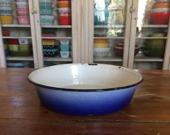 Blue enamel bowl