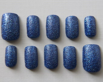 Square Sapphire Blue Texture Nails | Press On Nails | Fake Nails | False Nails | Glue On Nails | Acrylic Nails | Nail Art | Handpainted