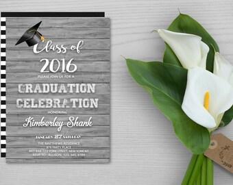 Printable Graduation Party Invitation,College Graduation Party Invitation,Graduation Party Invitation,Wood Style Graduation Party Invitation