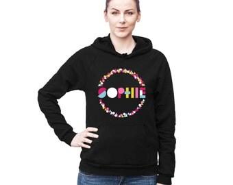 Printed Hoodie, Custom Name Hoodie, Personalized Hoodie, Monogram Hoodie, Geometric Hoodie, American Apparel Hoodie, Geometric Print,