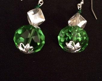 Peridot Green Quartz and Crystal Earrings