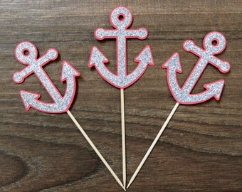 Nautical Anchor Cupcake Toppers - Red and Silver