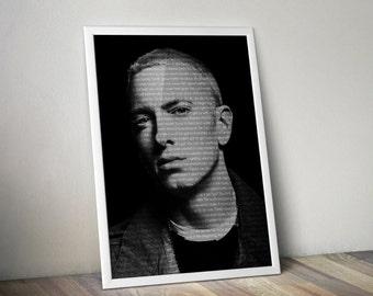Eminem Poster Music Song Lyric Typography  Word Art 5x7 8x10 12x16 18 x 24