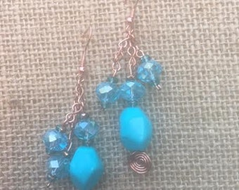 Turquoise & Copper Dangle Earrings