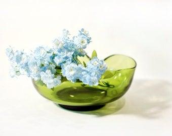 Olive Green Glass Bowl by BigMuddyVintageShop