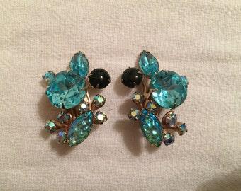 Vintage Rhinestone & Art Glass Clip Earrings