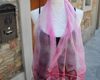 Hand painted Silk scarf, Chiffon Silk Scarf, Pink Silk Scarf, Made in Italy, Scarves for women, Silk fabric, Pink scarf, Pink silk scarf