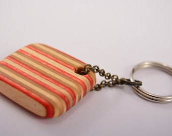 Red skateboard keychain - Hand made from RECYCLED SKATEBOARDS - wood keychain, skateboard art