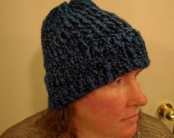 Blue Black Knobby Texture Winter Hat